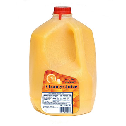 Orange Juice Labels Printed on Dairy Litho Laminated for added Moisture Protection